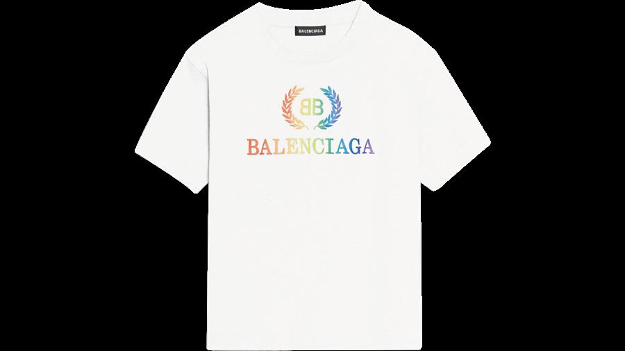 微风广场「微风之夜特典-乌托邦黄金周」,babyMADISON Balenciaga白色短TEE,原价6500元、直播VIP价3900元,限时6折。(微风提供)