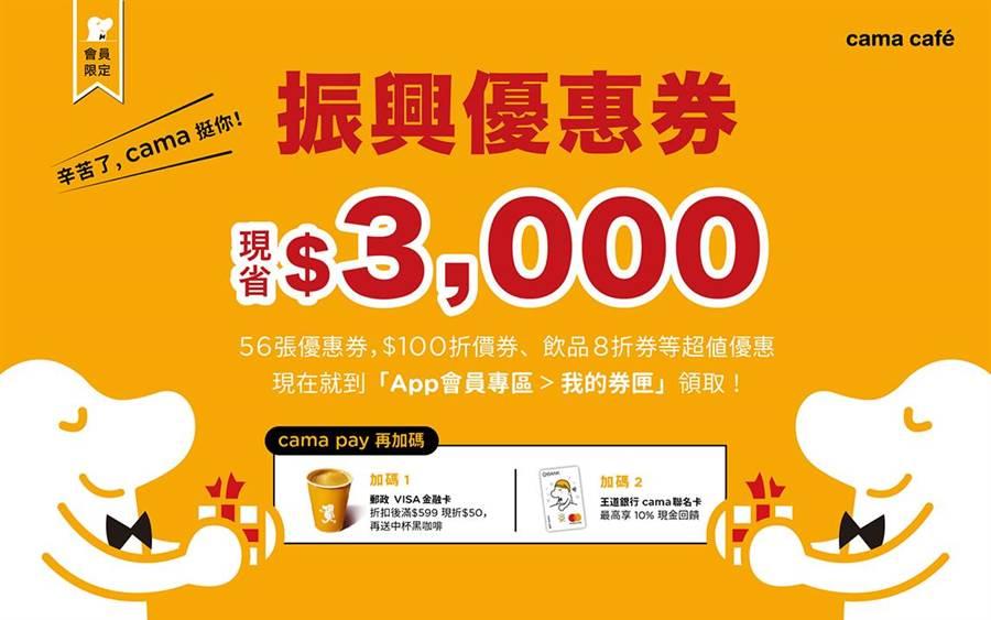 线上电子优惠券总额达3000元。(cama café提供)