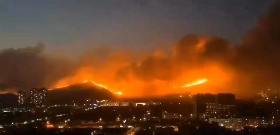 青島小珠山山火三天兩度復燃,現場視頻顯示,晚間,小珠山上火線延綿起伏,可見大片火光。(新京報讀者提供)
