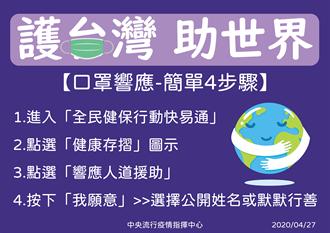 全民健保行動快易通APP能捐口罩 指揮中心:護台灣助世界