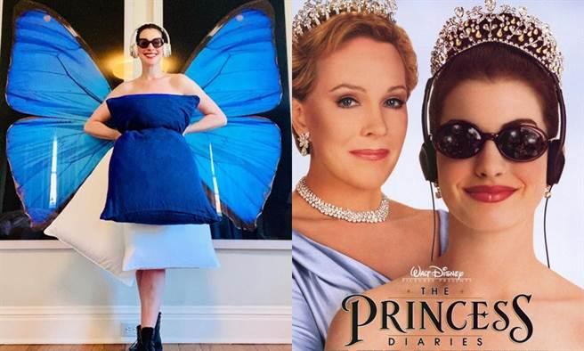 安海瑟薇用枕頭挑戰重現蜜亞公主的風采。(圖/IG@annehathaway、《麻雀變公主》海報)