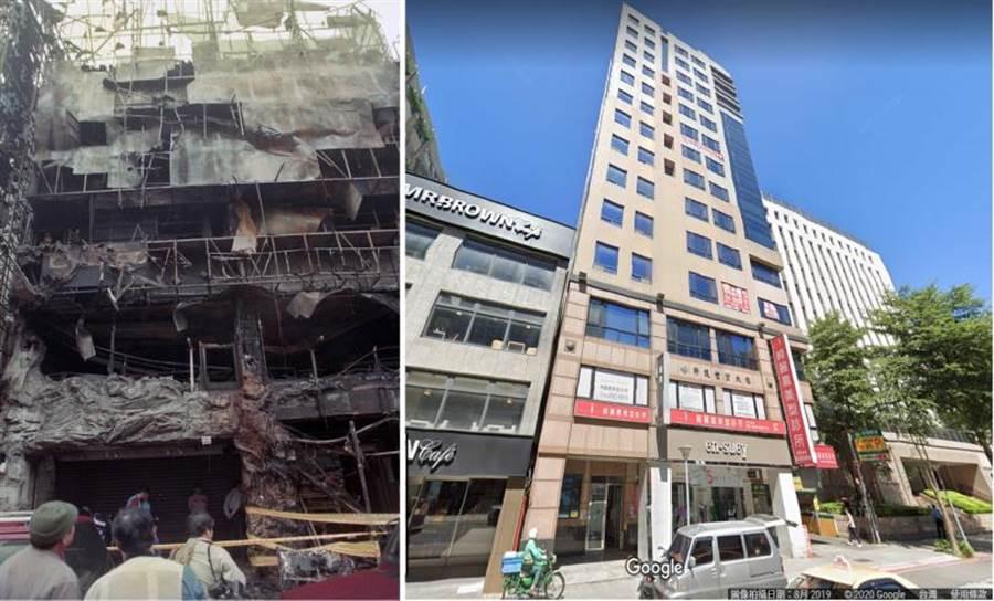 1994年「巨星鑽KTV」火燒後改建成商辦大樓,煥然一新。(圖/中時資料庫、擷取自Google Map)