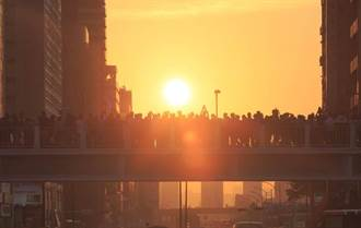 圖輯》「懸日」今起連6天傍晚降臨台北 民眾在天橋上搶看