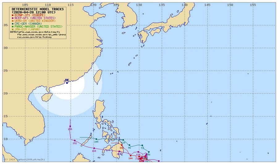 圖為各國模式最新模擬低壓(94W)的未來路徑。(翻攝自Typhoon2000)