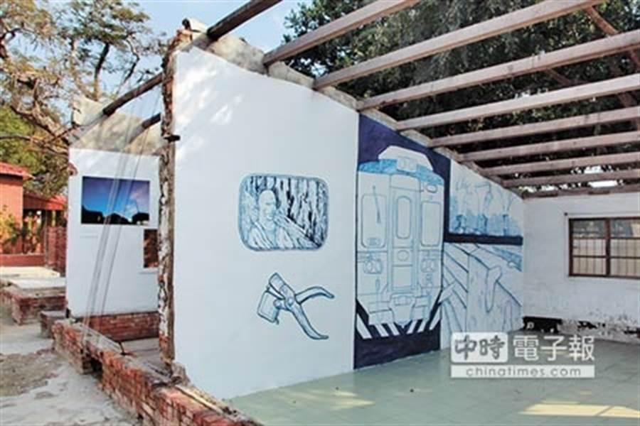 藝術創作者繪製鐵路風情,使老眷村活化成文創基地。(圖片取自中時電子報)