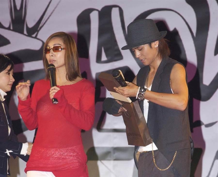 陳美鳳與乾兒子羅志祥。(本報系資料照)