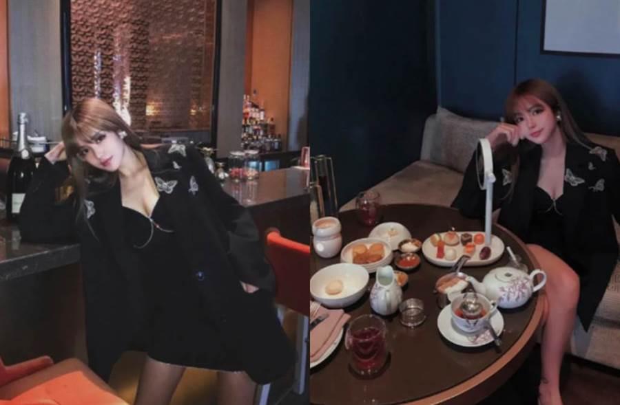 周揚青被爆近照,開心吃下午茶。(圖/翻攝自新浪娛樂)