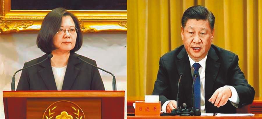 總統蔡英文(左)與大陸國家主席習近平(右)。(資料照)