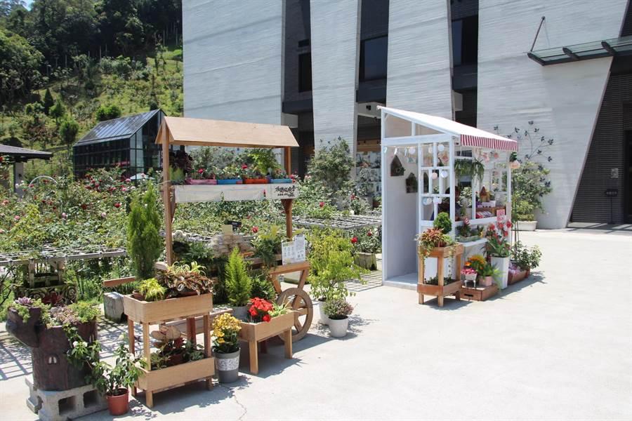 雅聞七里香玫瑰森林打造花季市集,擺放療癒植栽與熱銷商品,推廣行銷產品外也成拍照新景點。(何冠嫻攝)