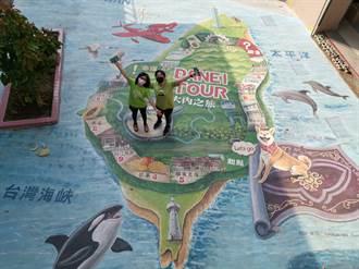 巨幅大地彩繪當教材 大內學童玩跳格子認識家鄉特色