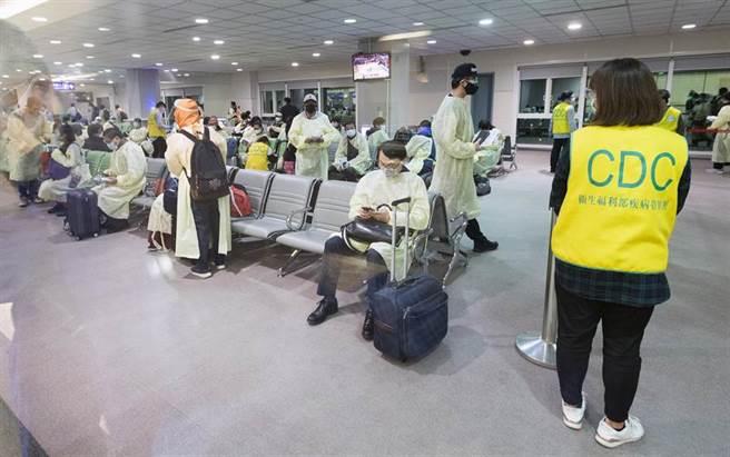 旅客在候機室內等待文件審查。(陳麒全攝)