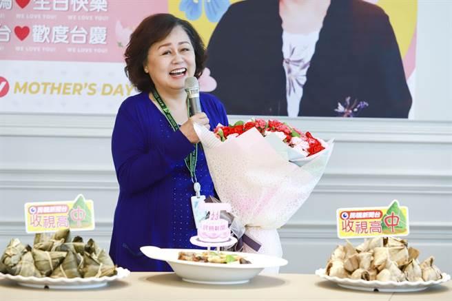 董事長王明玉感謝全體員工在第一季打下好成績。(民視提供)