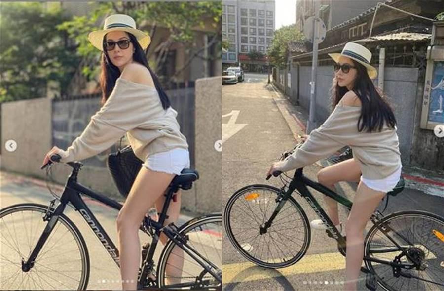 許瑋甯辣曬騎單車照,一雙長腿超吸睛。(圖/取材自許瑋甯Instagram)