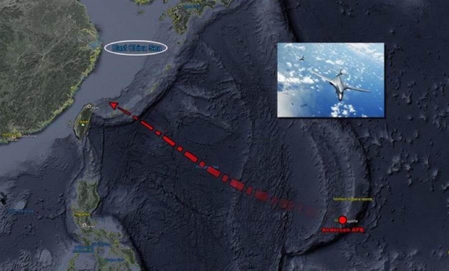 美軍2架B-1B超音速「槍騎兵」戰略轟炸機於6日再度出現在台灣東北海域。取自飛機守望