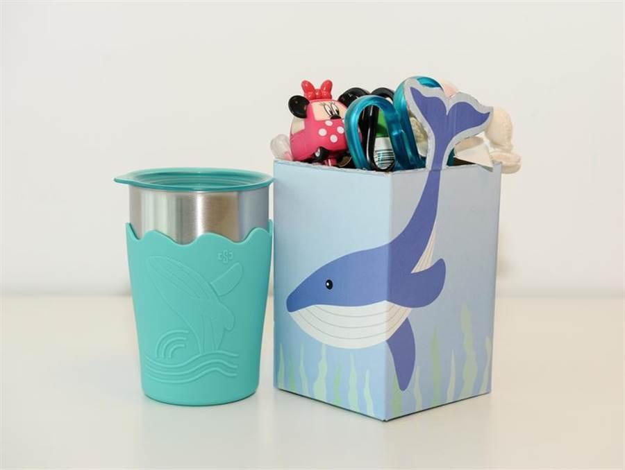 圖為中鋼股東紀念品「鯨彩都繪抗菌鋼杯」。(圖/中鋼提供)