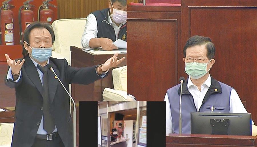 台北市長柯文哲引以為傲的北市實名制口罩智慧自動販賣機,慘到僅日賣24組口罩,北市議員王世堅(左)怒酸,扭蛋機都賣得比較多。(摘自北市議會直播)