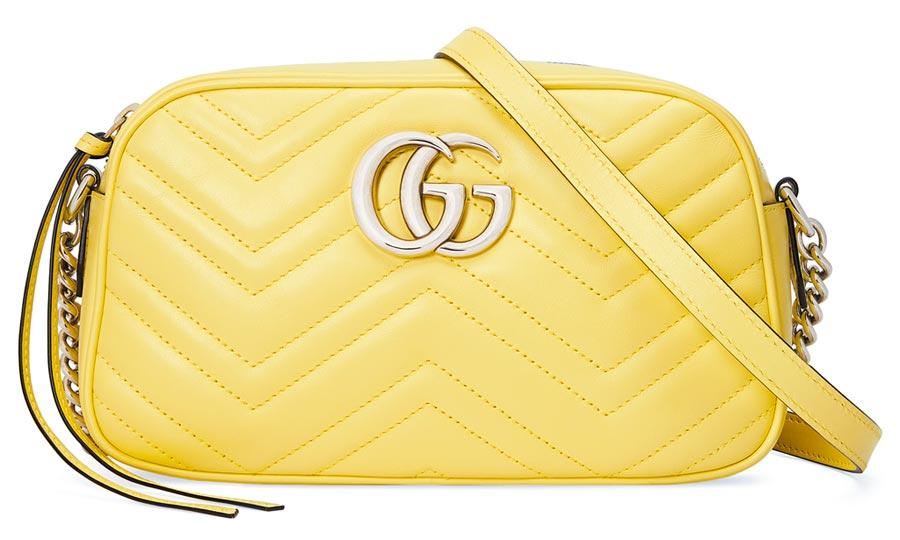 GUCCI的GG Marmont香草檸檬相機包3萬9400元。(GUCCI提供)
