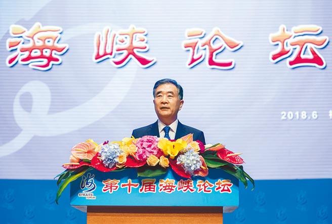 圖為2019年6月大陸政協主席汪洋出席第十屆海峽論壇開幕式並致辭。(新華社)