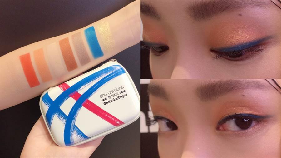 beyond the limit eye palette 眼彩盤(白),眼影盤中的藍色做為眼線色超時髦!(圖/邱映慈攝影)