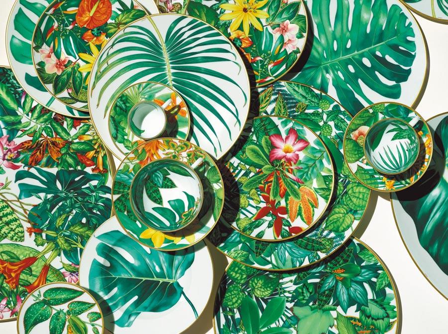 愛馬仕Passifolia系列餐瓷情境圖。(愛馬仕提供)