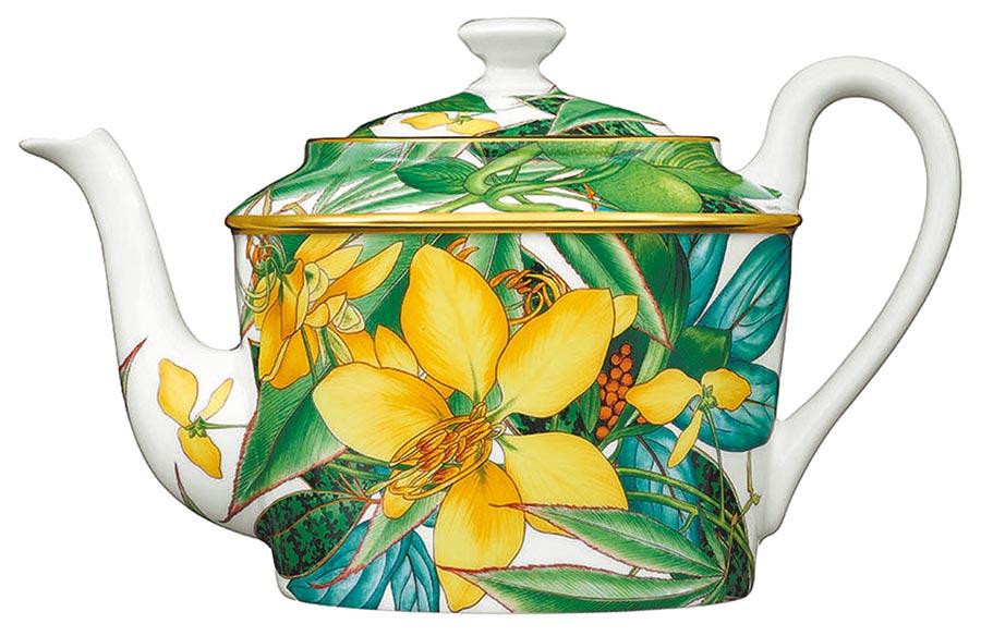 愛馬仕Passifolia系列餐瓷茶壺,2萬6080元。(愛馬仕提供)