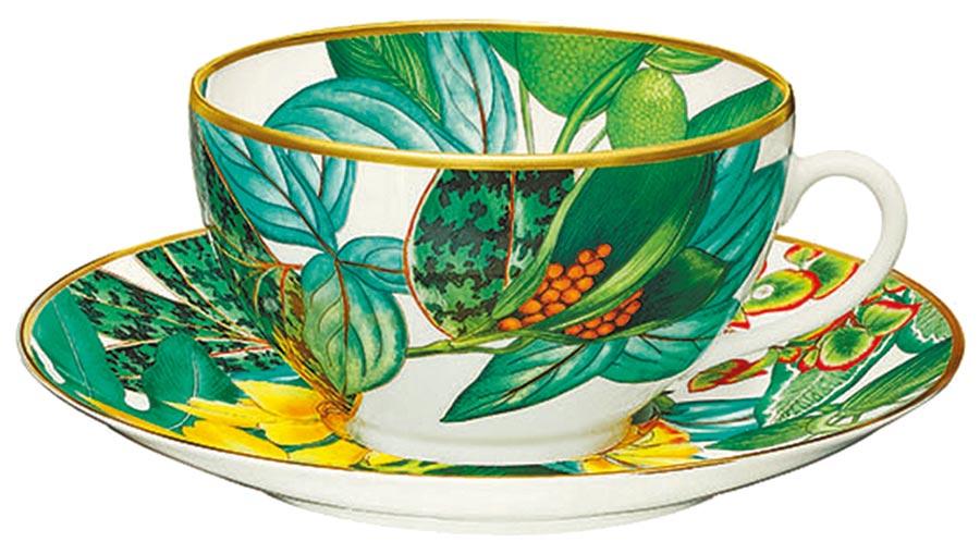 愛馬仕Passifolia系列餐瓷早餐杯與碟,1萬1620元。(愛馬仕提供)