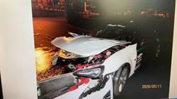 百萬豐田房車過彎失控自撞護欄 2乘客受傷駕駛逃逸