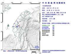 連2震! 南投縣竹山20:32規模3.8地震 最大震度雲林縣3級