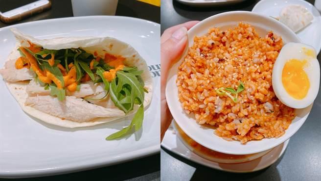 副食特別推薦雞胸肉卷餅和新加坡螃蟹蛋拌飯。(圖/邱映慈攝影)