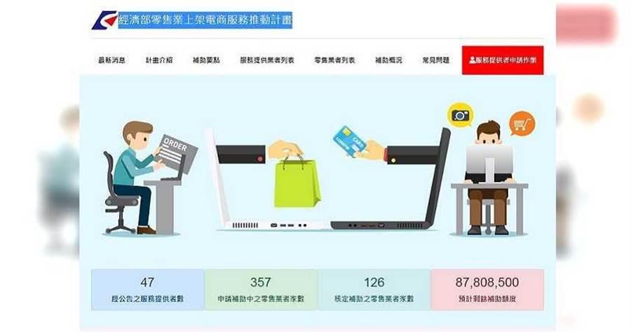 截自今日(5/11)止,全台共有126家零售業通過核定、成功把商品上架電商,並可領到10萬元補助款。(圖/經濟部網站截圖)