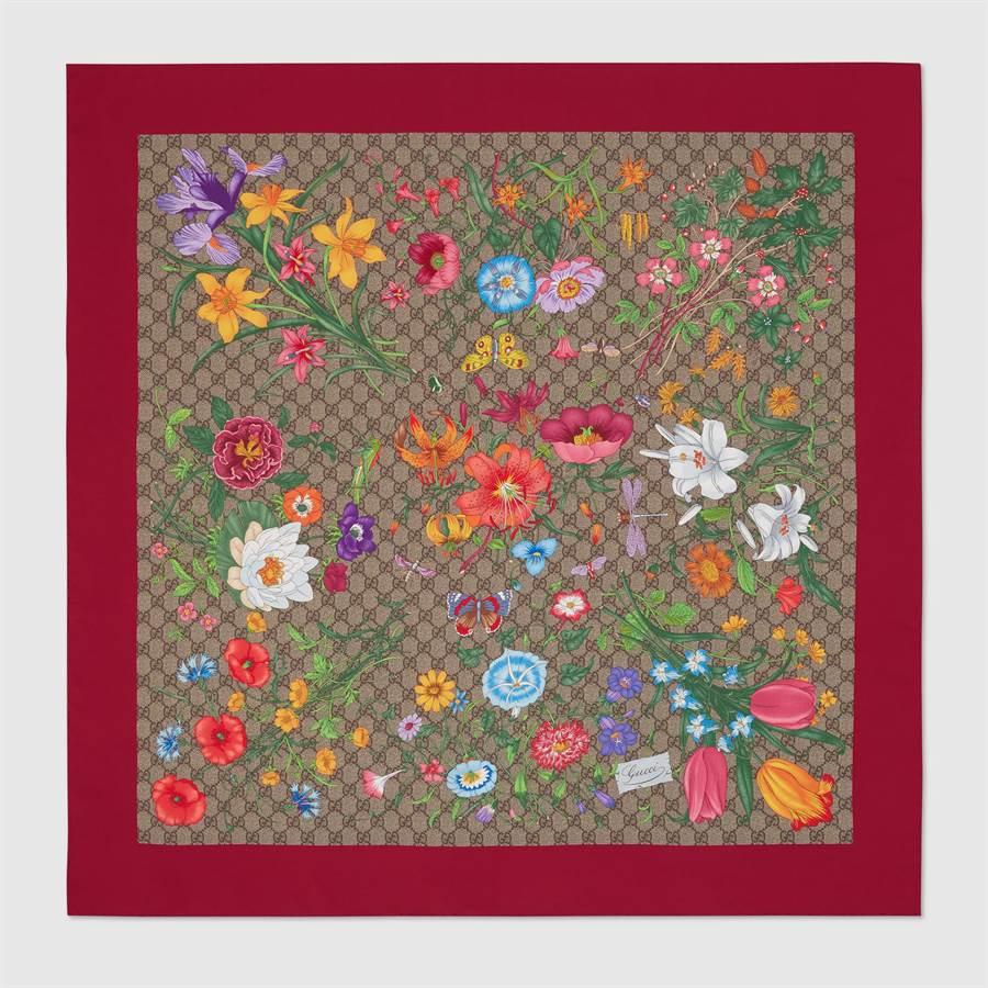 GUCCI GG Flora紅色絲巾,1萬7100元。(GUCCI提供)
