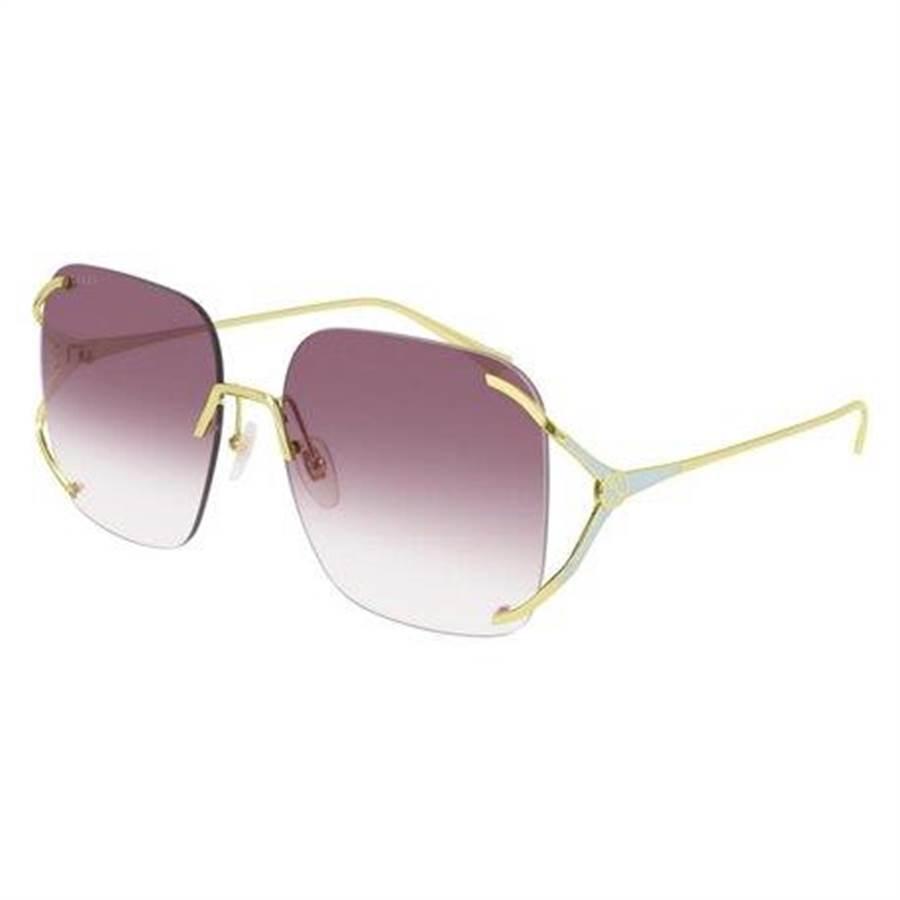GUCCI方形金屬無框太陽眼鏡,1萬6100元。(GUCCI提供)
