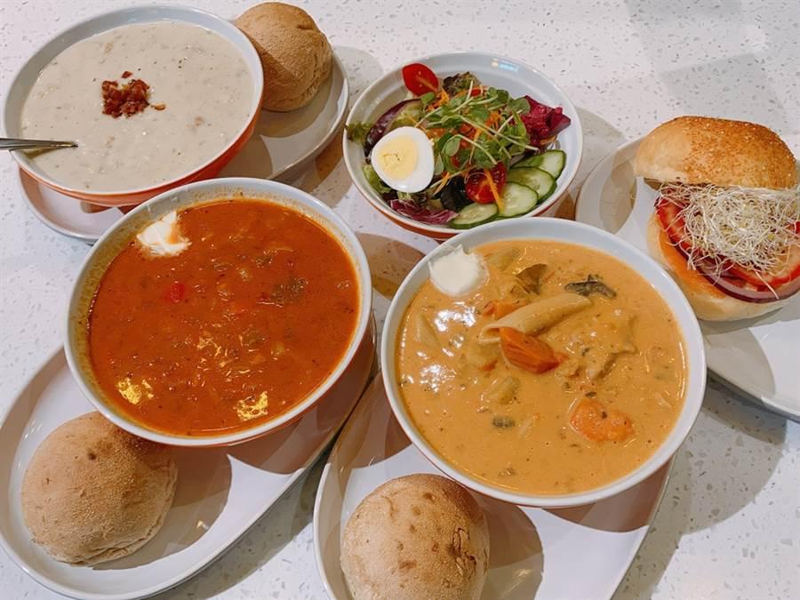 The Soup Spoon餐點以湯品為主角,搭配沙拉、卷餅、漢堡等副餐。(圖/邱映慈攝影)