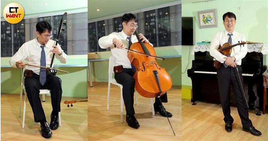 張鎮洲除了將公司開放給教會主日使用,他還獨樂樂不如眾樂樂,常戴著三把琴出門,分享美妙樂曲給知音者。(圖/王永泰攝)