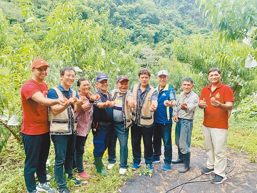 信義鄉長全志堅(右四),與產銷班成員展示布農甜桃。(廖志晃攝)