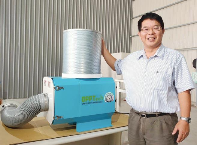 智政公司總經理陳志遠表示,OPPTech OT系列讓現場工作人員再不會感受到髒污的空氣,且切削油霧可回收再利用,有利地球環保。圖/陳逸格