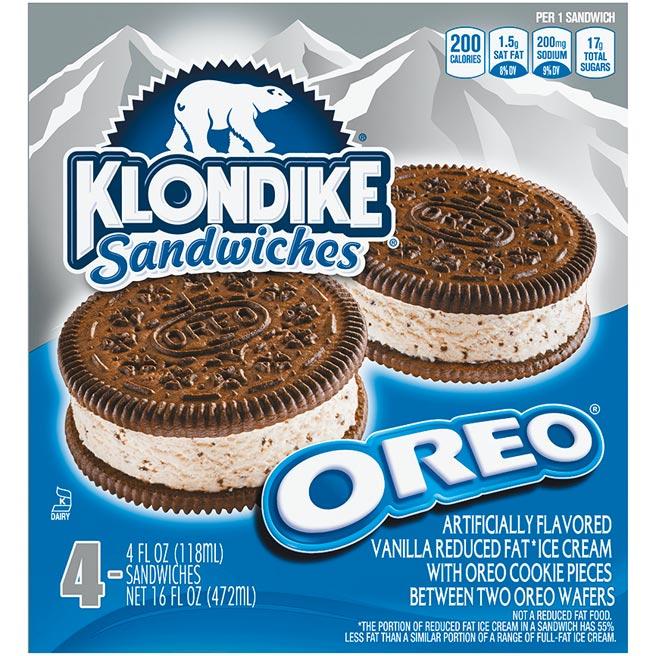 JASONS「KLONDIKE OREO夾心冰淇淋」,每盒4入,原價249元、20日前特價229元。(JASONS提供)