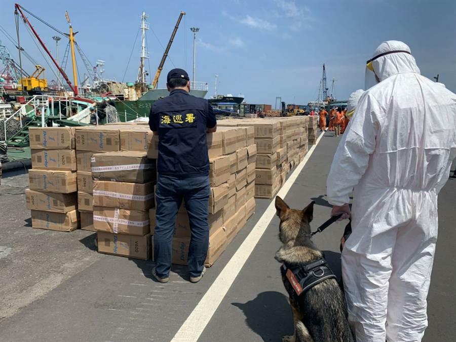 海巡署宜蘭查緝隊首次運用新成立海巡偵蒐犬,嗅獲走私漁船船艙內的非法菸品。(海巡署提供)