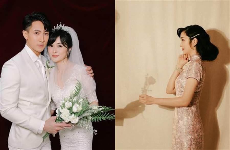 吳尊和林麗瑩婚紗照曝光,夫妻超童顏,林麗瑩好身材更是超吸睛。(圖/取材自婚前21天微博)