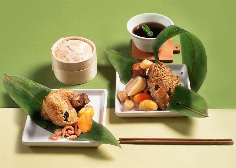 六福端推出在地仙草創意入料的「豐融伊比利豬海陸粽禮盒」。(六福提供)