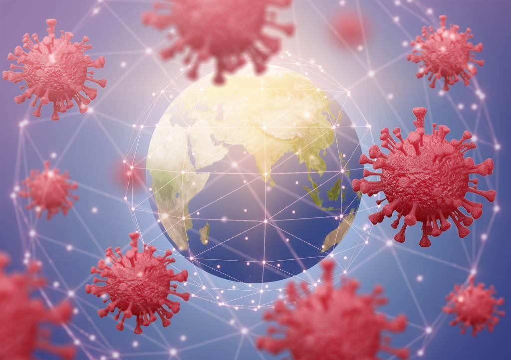 新冠肺炎疫情蔓延全球示意图。(达志影像/Shutterstock)(photo:ChinaTimes)