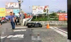 混凝土車對撞機車 騎士彈飛掉落橋下
