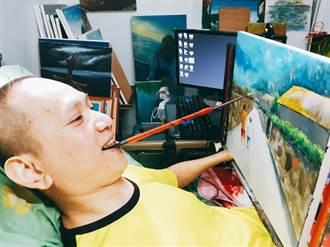 「45度角畫家-金根鴻」戰勝命運!咬筆畫花蓮山海人文美