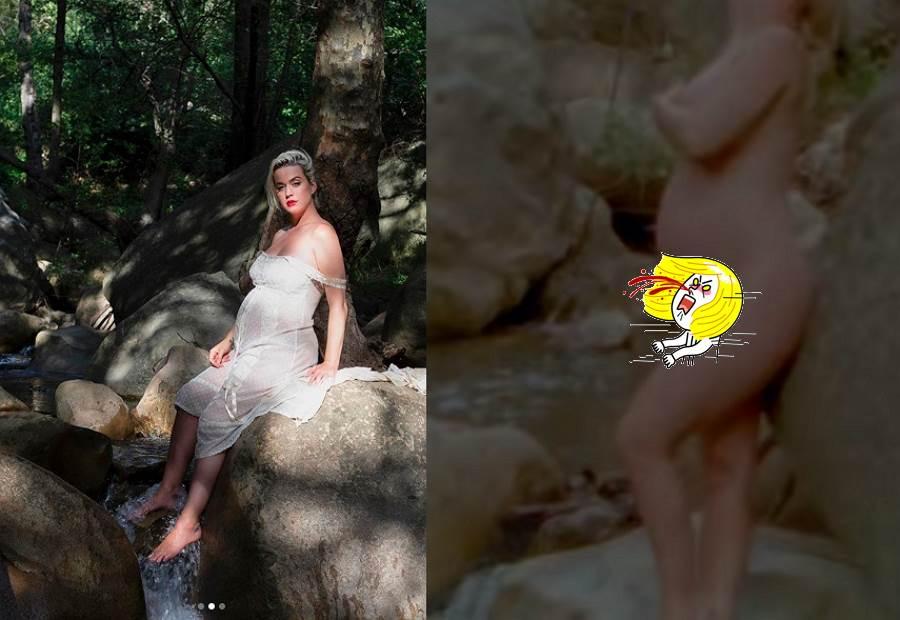 凱蒂佩芮當媽尺度無極限 拍MV挺孕肚裸體演出(圖/ 摘自凱蒂佩芮IG、YouTube影片)