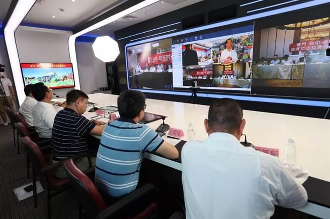「廈門-台中-金門經濟文化交流視訊會」15日在三地同步舉行。(廈門市台港澳辦提供)