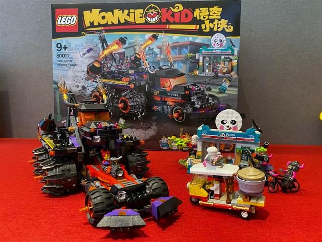 LEGO悟空小俠系列880011紅孩兒邪火戰車開箱。(黃慧雯攝)