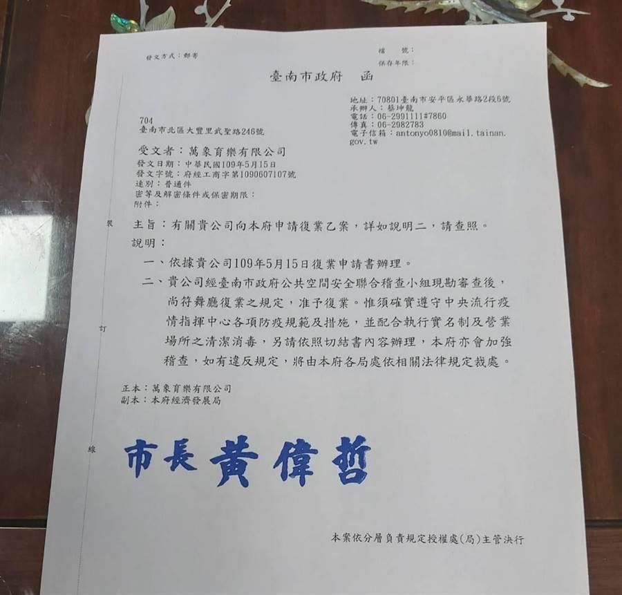 台南市開出六都第一張准許舞廳復業的公文。(翻攝照片/程炳璋台南傳真)
