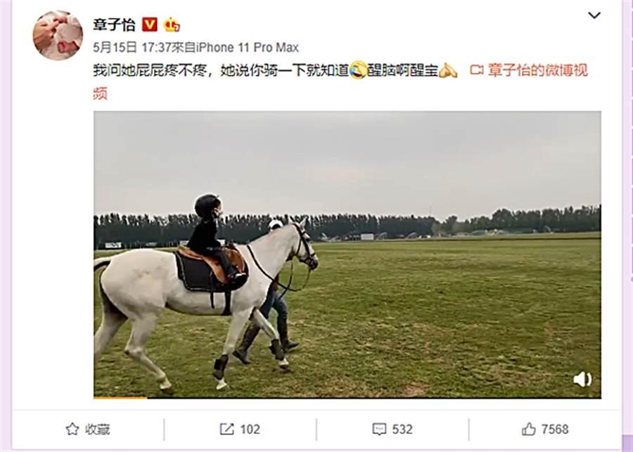 章子怡分享女兒學騎馬影片。(圖/翻攝自章子怡微博)