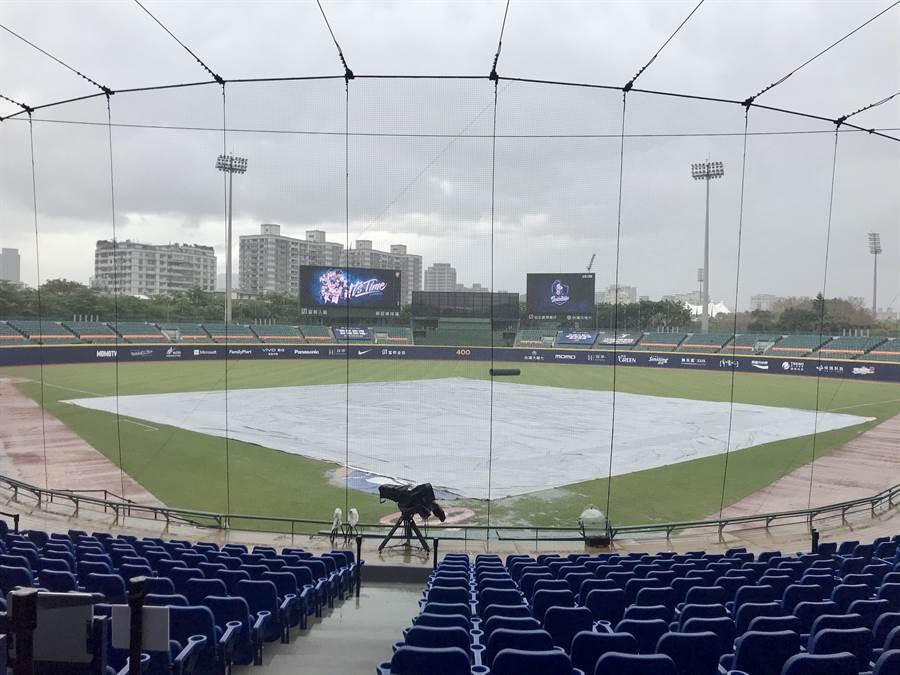 新莊球場下大雨,師徒對決先延賽。(鄧心瑜攝)