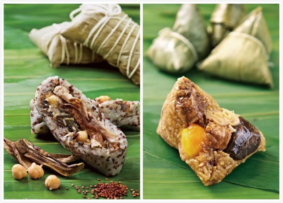 潮品集-紅藜麥干菌肥牛粽(左)、潮品集-潮洲香粽(右)。(台北神旺大飯店 提供)